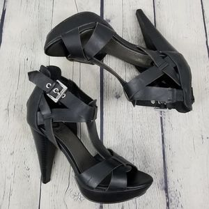 G by GUESS | strappy buckle open toe zip heels